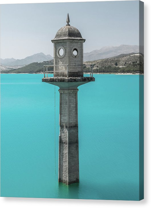 Watchtower In Striking Blue Water - Canvas Print from Wallasso - The Wall Art Superstore