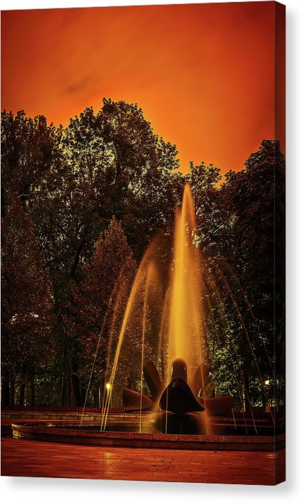 Water Fountain With Vibrant Orange Sunset - Canvas Print from Wallasso - The Wall Art Superstore
