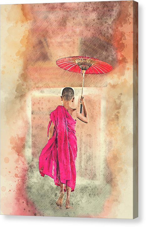 Watercolor Buddhist Monk Child With Parasol - Canvas Print from Wallasso - The Wall Art Superstore
