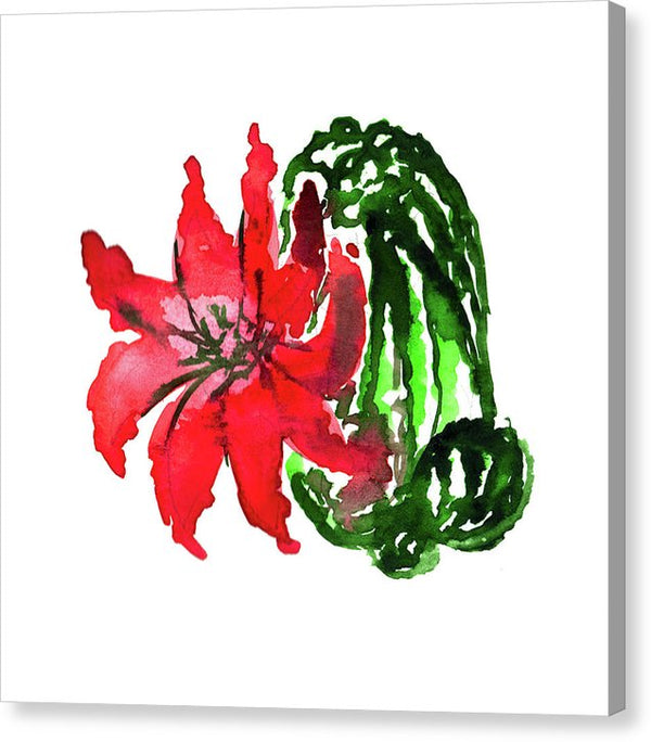 Watercolor Cactus With Large Red Flower - Canvas Print from Wallasso - The Wall Art Superstore