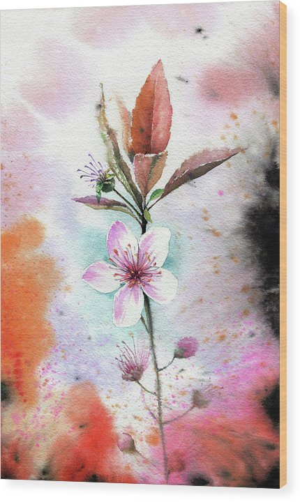 Watercolor Cherry Blossom Painting - Wood Print from Wallasso - The Wall Art Superstore