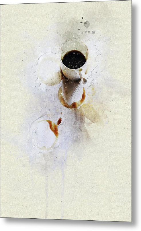 Watercolor Coffee Cup Painting - Metal Print from Wallasso - The Wall Art Superstore