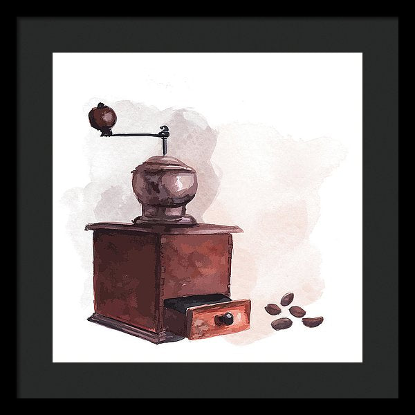 Watercolor Coffee Grinder Painting - Framed Print from Wallasso - The Wall Art Superstore
