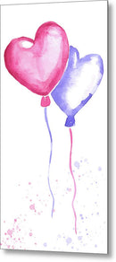 Watercolor Heart Balloons Painting - Metal Print from Wallasso - The Wall Art Superstore