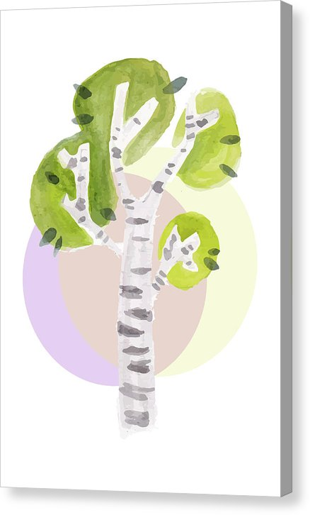 Watercolor Painting of Tree With Shapes, 1 of 2 Set - Canvas Print from Wallasso - The Wall Art Superstore