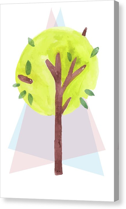 Watercolor Painting of Tree With Shapes, 2 of 2 Set - Canvas Print from Wallasso - The Wall Art Superstore