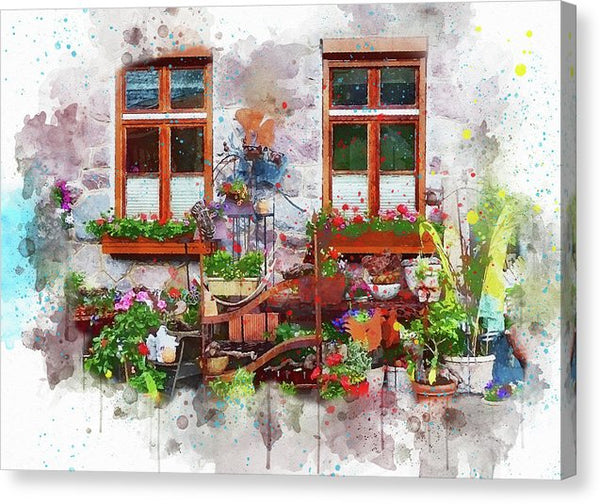 Watercolor Painting Of Windows With Flowers And Plants - Canvas Print from Wallasso - The Wall Art Superstore