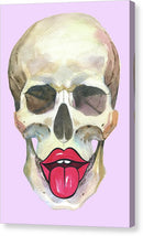 Watercolor Skull With Lips and Tongue On Pink - Canvas Print from Wallasso - The Wall Art Superstore