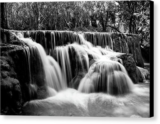 Waterfall With Rocks, Long Exposure - Canvas Print from Wallasso - The Wall Art Superstore