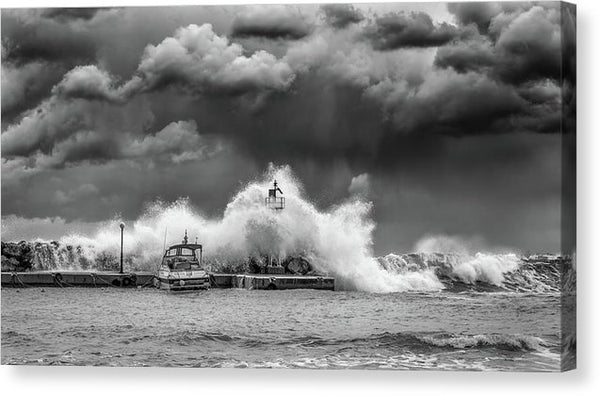 Waves Crashing Into Jetty - Canvas Print from Wallasso - The Wall Art Superstore