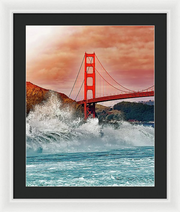 Waves Crashing Under Golden Gate Bridge - Framed Print from Wallasso - The Wall Art Superstore