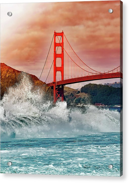 Waves Crashing Under Golden Gate Bridge - Acrylic Print from Wallasso - The Wall Art Superstore