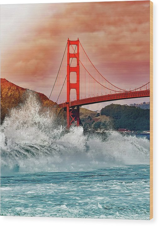 Waves Crashing Under Golden Gate Bridge - Wood Print from Wallasso - The Wall Art Superstore