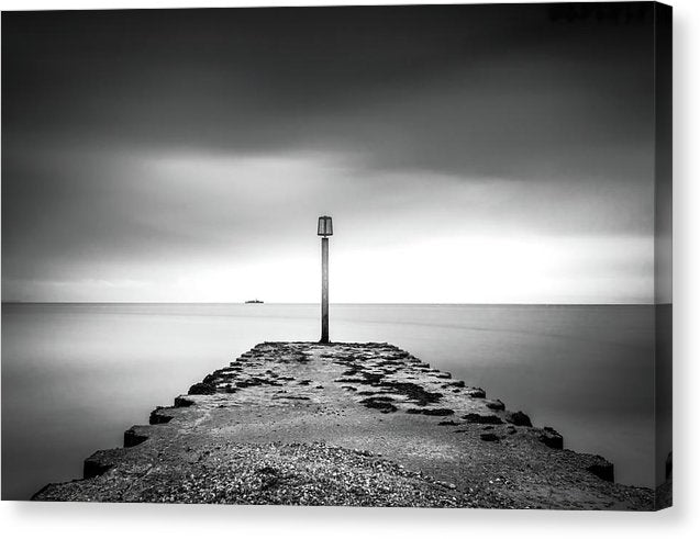 Weymouth Dorset Pier Jetty With Ship On Distant Horizon - Canvas Print from Wallasso - The Wall Art Superstore