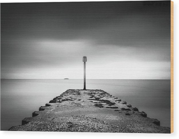Weymouth Dorset Pier Jetty With Ship On Distant Horizon - Wood Print from Wallasso - The Wall Art Superstore