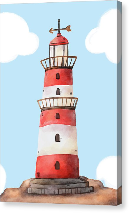 Whimsical Watercolor Lighthouse - Canvas Print from Wallasso - The Wall Art Superstore