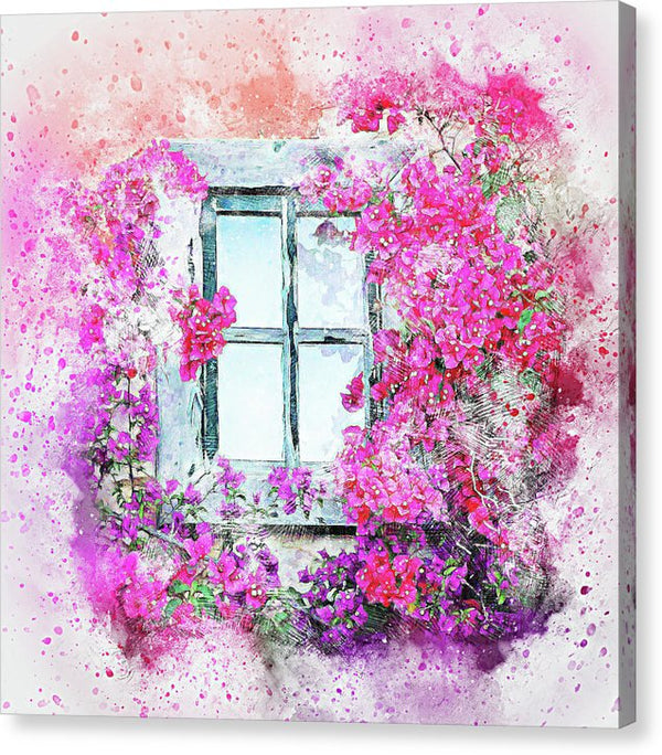 Window With Pink Flowers, Watercolor Painting - Canvas Print from Wallasso - The Wall Art Superstore