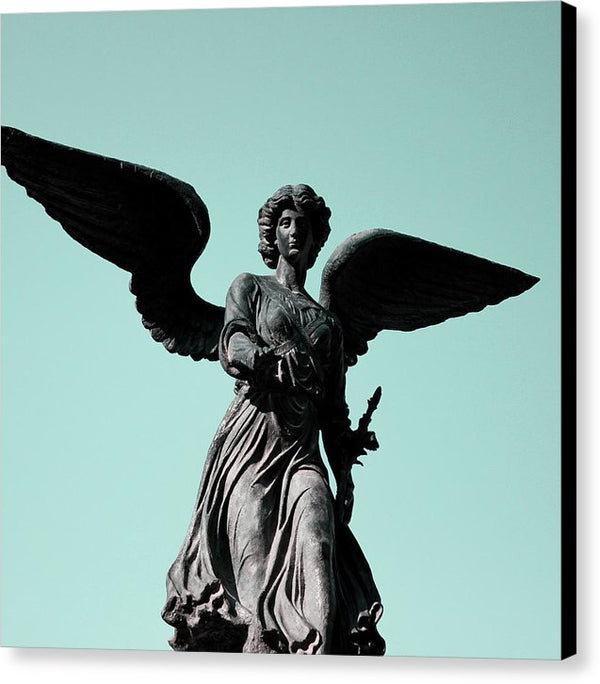 Winged Angel Statue With Blue Sky, Square - Canvas Print from Wallasso - The Wall Art Superstore
