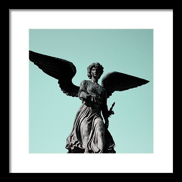 Winged Angel Statue With Blue Sky, Square - Framed Print from Wallasso - The Wall Art Superstore