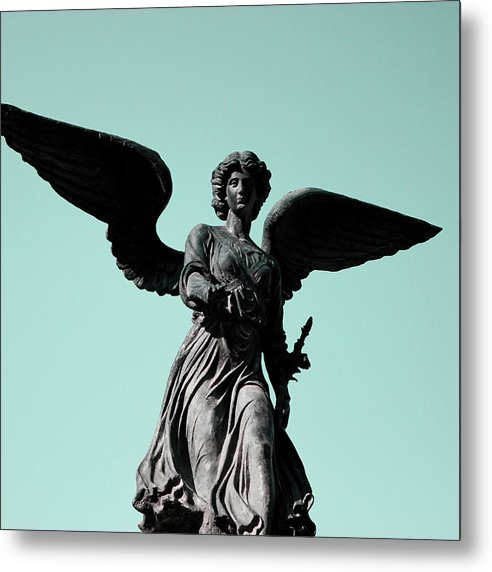 Winged Angel Statue With Blue Sky, Square - Metal Print from Wallasso - The Wall Art Superstore