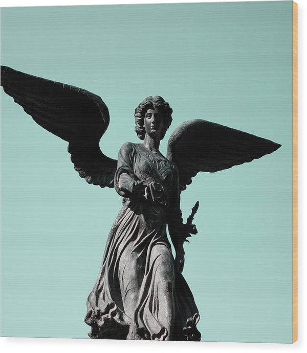 Winged Angel Statue With Blue Sky, Square - Wood Print from Wallasso - The Wall Art Superstore