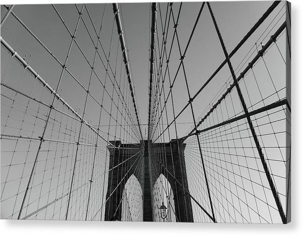 Wire Patterns of The Brooklyn Bridge - Acrylic Print from Wallasso - The Wall Art Superstore
