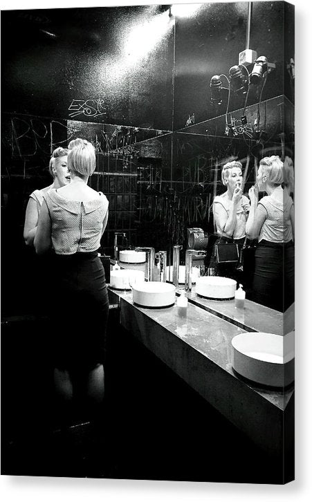 Woman Applying Lipstick In Bathroom Mirror - Canvas Print from Wallasso - The Wall Art Superstore