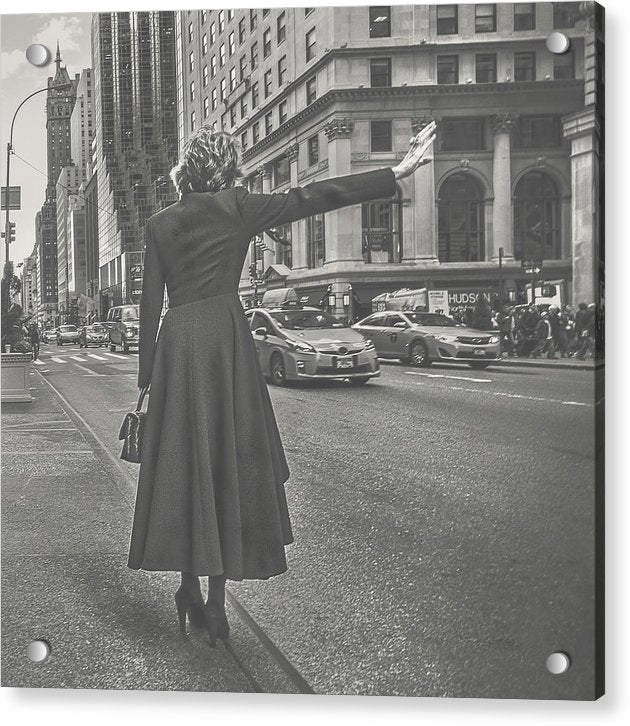Woman Hailing Taxi Cab In New York City, Light - Acrylic Print from Wallasso - The Wall Art Superstore