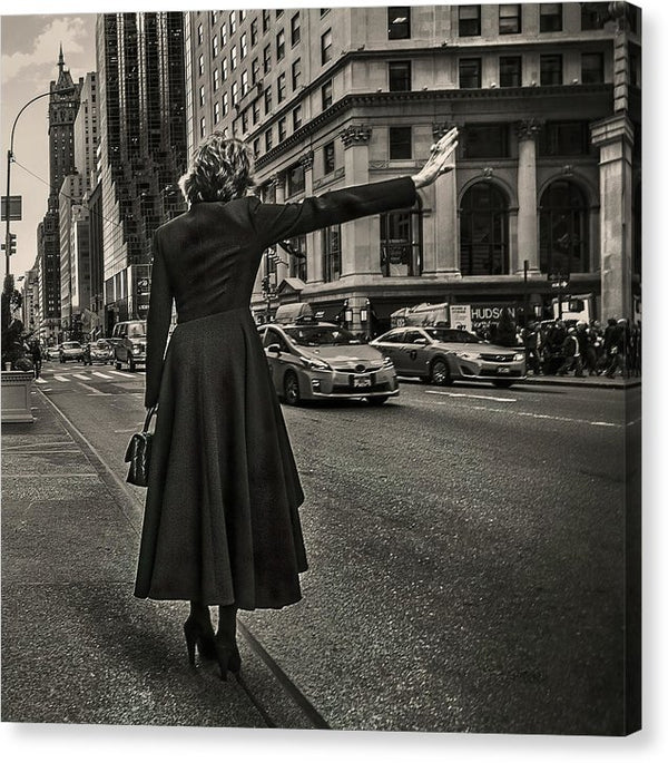 Woman Hailing Taxi Cab In New York City, Sepia - Canvas Print from Wallasso - The Wall Art Superstore