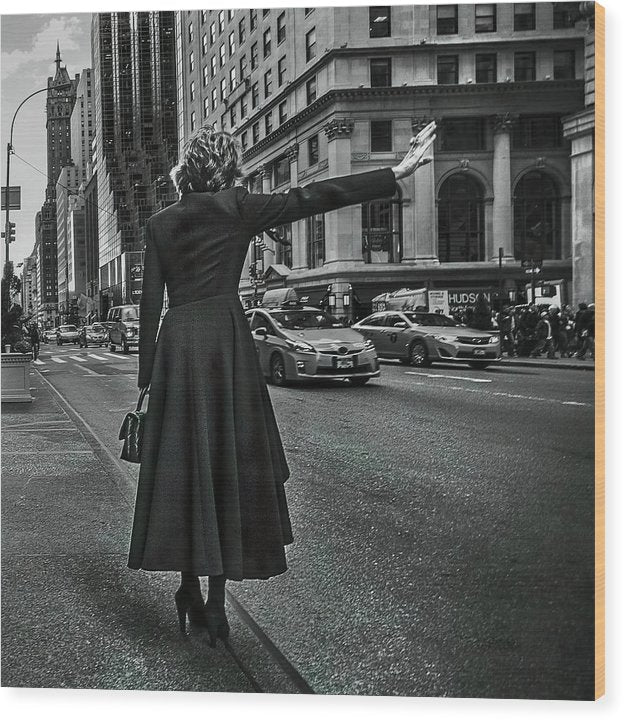 Woman Hailing Taxi Cab In New York City - Wood Print from Wallasso - The Wall Art Superstore