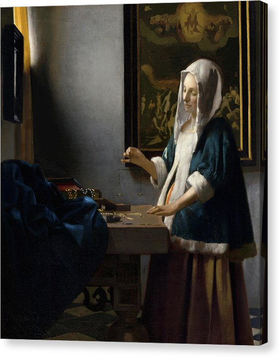 Woman Holding A Balance by Johannes Vermeer, 1664 - Canvas Print from Wallasso - The Wall Art Superstore