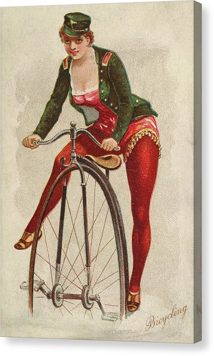 Woman Riding Penny Farthing Bike, Vintage Tobacco Trade Card 1889 - Canvas Print from Wallasso - The Wall Art Superstore