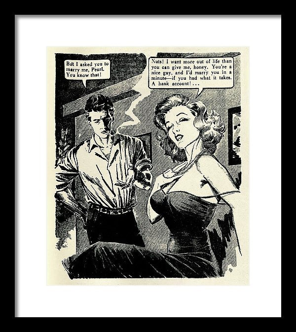 Woman Says No To Marriage Proposal, Vintage Comic Book - Framed Print from Wallasso - The Wall Art Superstore