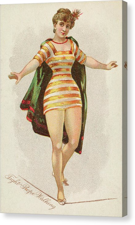 Woman Tight Rope Walking, Vintage Tobacco Trade Card 1889 - Canvas Print from Wallasso - The Wall Art Superstore
