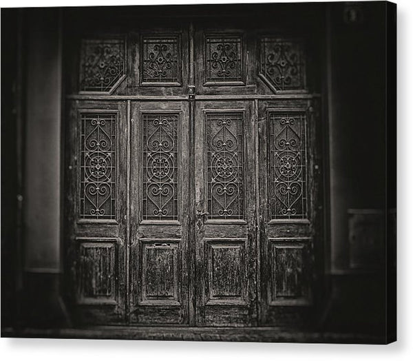 Wood Doors With Wrought Iron Filigree, Sepia - Canvas Print from Wallasso - The Wall Art Superstore