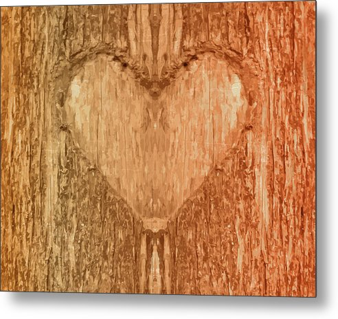 Wood Heart Tree Bark Texture - Metal Print from Wallasso - The Wall Art Superstore