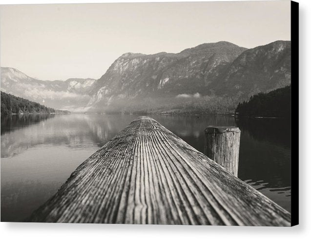 Wood Plank Over Mountain Lake - Canvas Print from Wallasso - The Wall Art Superstore