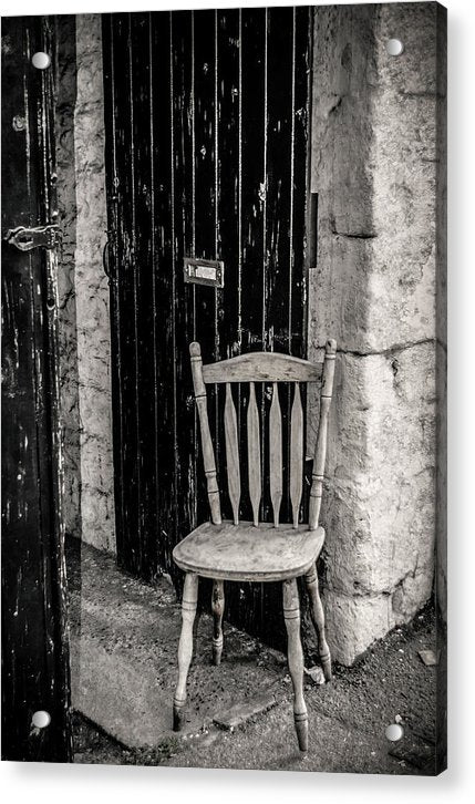 Wooden Chair Against Brick Wall - Acrylic Print from Wallasso - The Wall Art Superstore