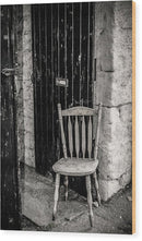 Wooden Chair Against Brick Wall - Wood Print from Wallasso - The Wall Art Superstore