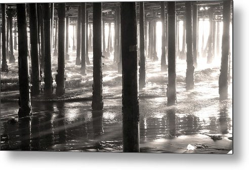 Wooden Pillars Below Boardwalk, Sepia - Metal Print from Wallasso - The Wall Art Superstore