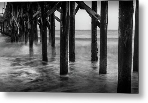 Wooden Poles Holding Up Pier - Metal Print from Wallasso - The Wall Art Superstore