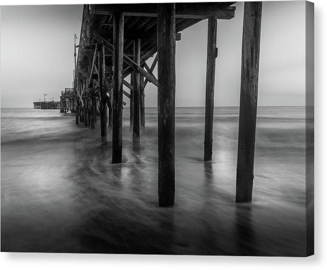 Wooden Poles Holding Up Santa Barbara Pier, California - Canvas Print from Wallasso - The Wall Art Superstore