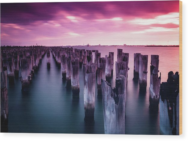 Wooden Poles In Water With Vibrant Pink Sky - Wood Print from Wallasso - The Wall Art Superstore