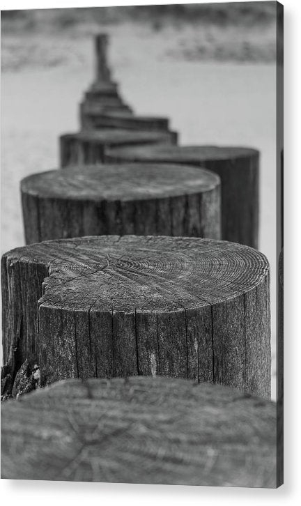 Wooden Posts On Sandy Beach - Acrylic Print from Wallasso - The Wall Art Superstore