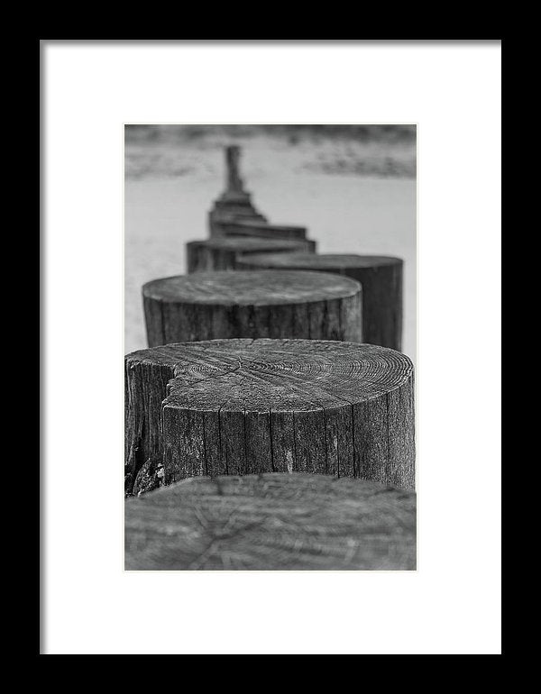 Wooden Posts On Sandy Beach - Framed Print from Wallasso - The Wall Art Superstore