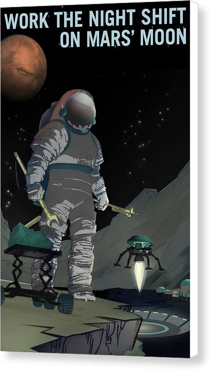 Work The Night Shift On Mars Moon NASA Poster - Canvas Print from Wallasso - The Wall Art Superstore