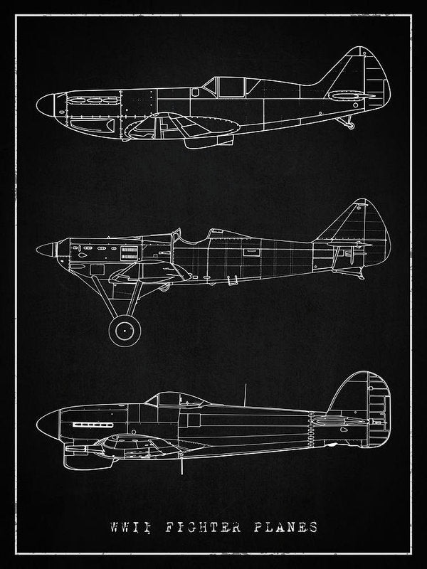 WWII Fighter Plane Designs - Art Print from Wallasso - The Wall Art Superstore