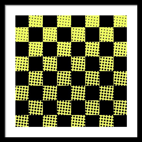 Yellow and Black Polka Dot Checkerboard Design - Framed Print from Wallasso - The Wall Art Superstore