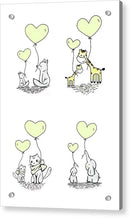 Yellow Baby Animals With Heart Balloons For Kids - Acrylic Print from Wallasso - The Wall Art Superstore