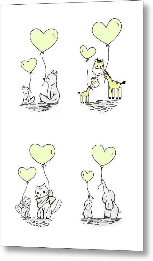 Yellow Baby Animals With Heart Balloons For Kids - Metal Print from Wallasso - The Wall Art Superstore